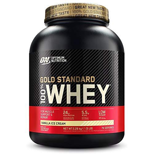 Optimum Nutrition Gold Standard 100% Whey Protéine en Poudre avec Whey Isolate, Proteines Musculation Prise de Masse, Vanille Crème Glacée, 73 Portions, 2.27kg, l'Emballage Peut Varier