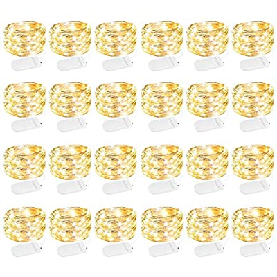 24 Pack Led Fairy Lights Battery Operated String Lights Waterproof Silver Wire, 7Ft 20 LED Firefly Starry Moon Lights for DIY Wedding Party Bedroom Patio Christmas (Warm White)