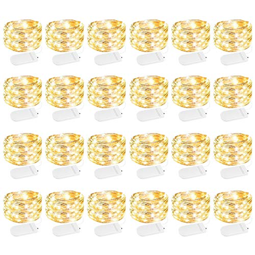 24 Pack Fairy Lights Battery Operated 7 Feet 20 Led Waterproof Starry Fairy String Lights with Flexible Silver Wire for Mason Jar Craft Gift Box Inner and Party Decor Warm White