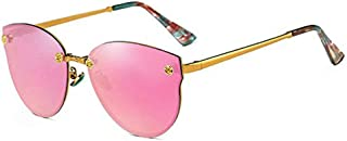 Women Rimless Cateye Sunglasses Oversized Reflective Mirror Eyeglasses (PINK, 64)