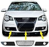 Artudatech Grille avant de voiture, 1 paire de grilles inférieures pour feu de brouillard avant, grille nid d'abeille style grille pour V W Polo 9N3 GTI 2005-2009