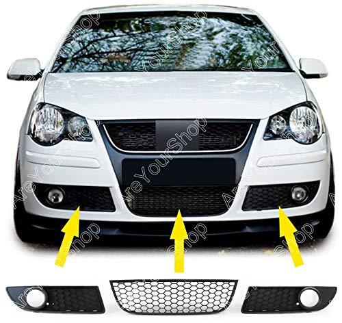 Artudatech Griglia anteriore per auto, 1 coppia inferiore griglia fendinebbia anteriore griglie a nido d'ape per V W Polo 9N3 GTI 2005-2009