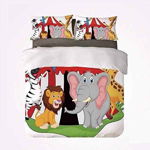 Qoqon Funda nórdica Set Circus Decor Juego de Ropa de Cama Duradera de 3, Artista acróbata entrenado Animales en Carpa de Circo Happy Giraffe Elephant Joyful Art for Indoor