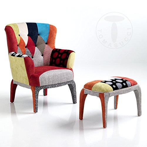 Tomasucci Sessel + Sitzsack Kaleidos E–komplett bedeckt von Geweben Patchwork–Füße aus Massivholz–The Little Shop