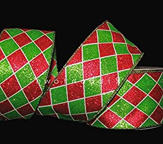 10 Yards Christmas Red Green White Glitter Diamond Harlequin Jester Wired Ribbon Lace Trim Embroidery Applique Fabric Delicate DIY Art Craft Supply for Scrapbooking Gift Wrapping