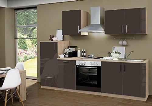 idealShopping Küchenblock mit Elektrogeräten Premium 270 cm in lava glänzend