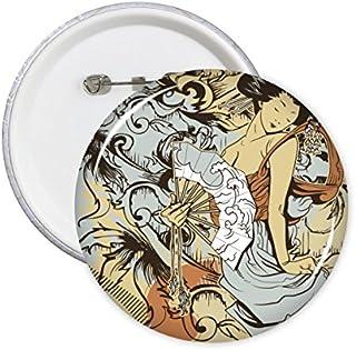 DIYthinker Rue Graffiti Culture Sexy Geisha Fan Fleur japonaise styel Japon Art Design Illustration rond Motif Pins Badge ...