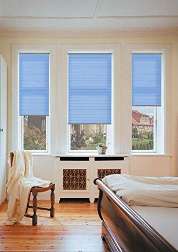 sundiscount Plissee nach Maß | Stoffkollektion Kepp | P1415 | Glasleistenmontage (Dunkelblau, 70 x 80 cm)