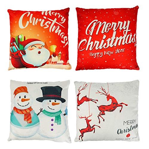 Konsait 4Pack Christmas Pillow Covers 18x18 inch, Linen Invisible Zipper Christmas Throw Pillow Covers for Sofa Couch Couch Cushion Cover Pillowcase Xmas Party Favor Supplies Decorations
