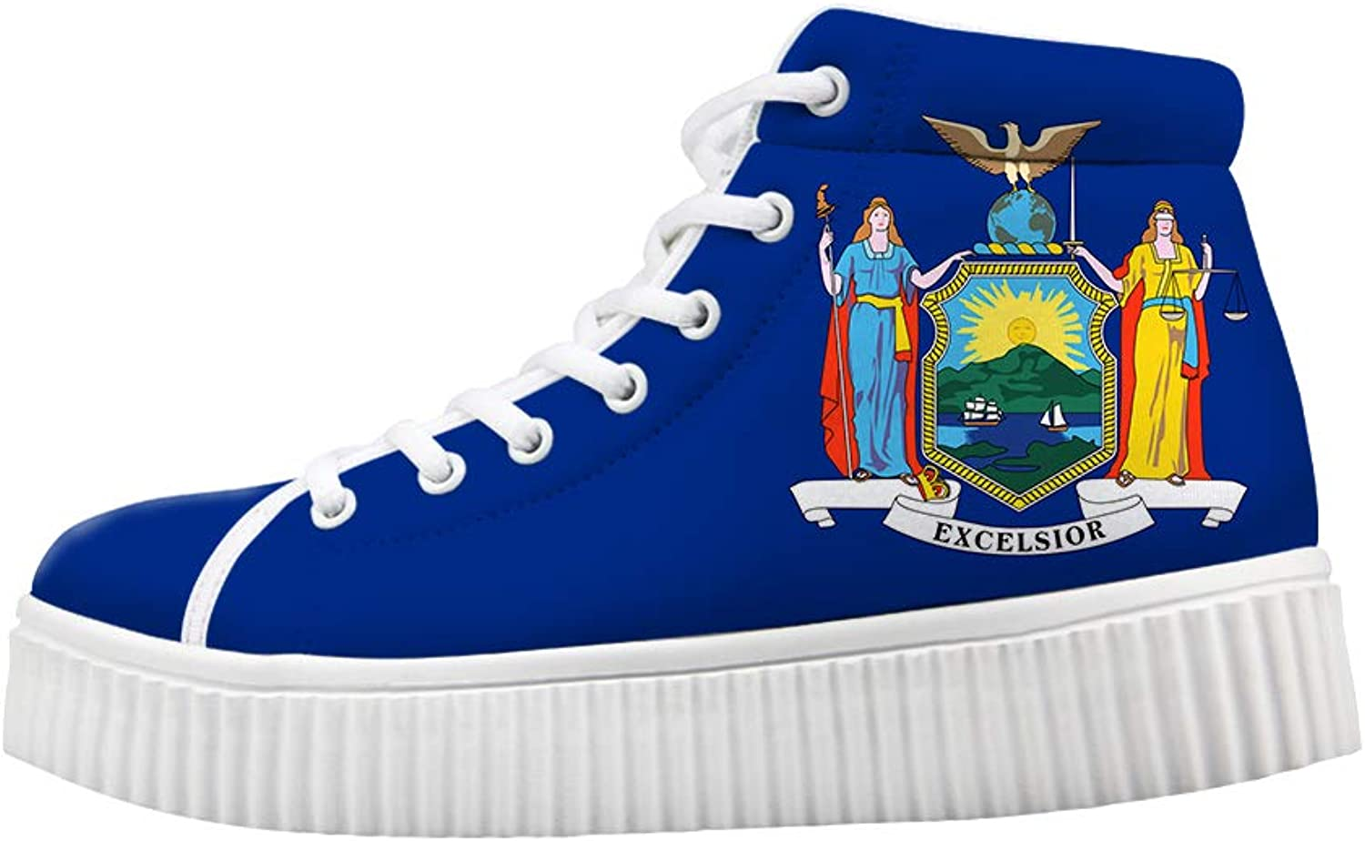 Owaheson Platform Lace up Sneaker Casual Chunky Walking shoes Women Goddess New York Flag