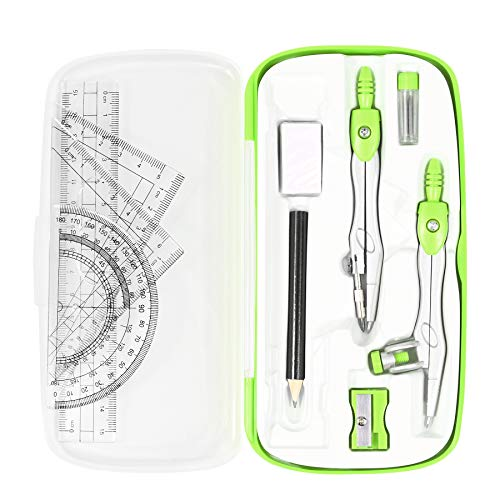Vobou Math Geometry Kit Sets 10 Piece Student Supplies with Shatterproof Storage Box,Includes Rulers,Protractor,Compass,Eraser,Pencil Sharpener,Lead Refills,Pencil,for Drafting and Drawings(Green)