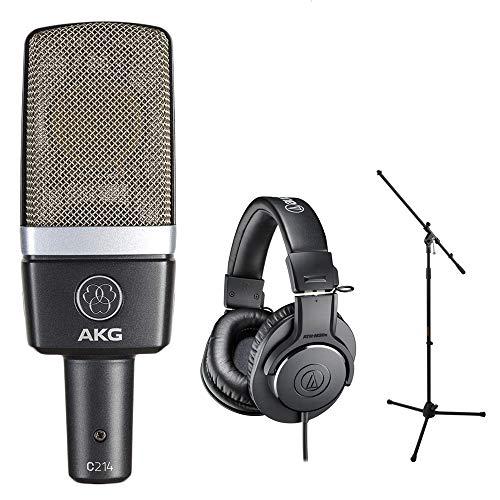 AKG C214 Pro Condenser Microphone Bundle with Audio-Technica ATH-M20x Headphones & Mic Stand