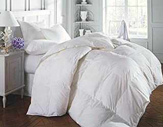 ROSE FEATHER White Luxurious 300TC Cotton White Goose Down Feather Comforter Quilt Insert Light Weight,650+Fill Power (Cal King 108x98 inches)