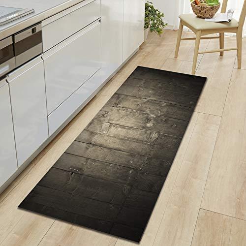 Fostudork Rollteppich, Lange Küchenmatte Holzmuster Matten Für Den Flur Willkommen Türmatten Bodenteppich Anti-Rutsch-Kicthen-Teppich Nachttisch-Holz 13-60 X 180 cm