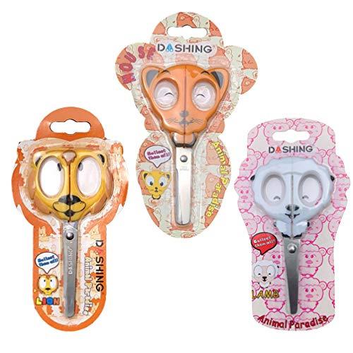 EXCEART 3 Pcs Tesoura Crianças Tesoura Escolar Tesoura de Artesanato de Segurança da Criança para O Jardim de Infância Pré-Escolar (Leão Rato Cordeiro)
