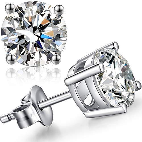 jiamiaoi Pendientes para hombre y mujer, de plata de ley 925 con circonitas cúbicas redondas y diamantes de imitación de 4 mm a 8 mm 7 mm