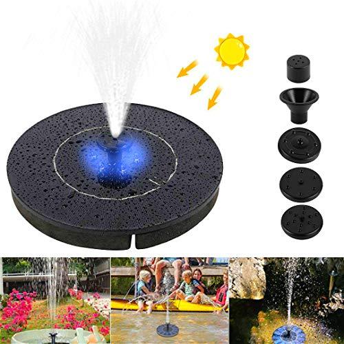 Zonnefontein Pomp met LED-verlichting, 2.4W Circle Garden Zonne-waterpomp met 4 spuitmonden, drijvende fontein pomp voor vijvers, zwembaden, tuinen, vistanks