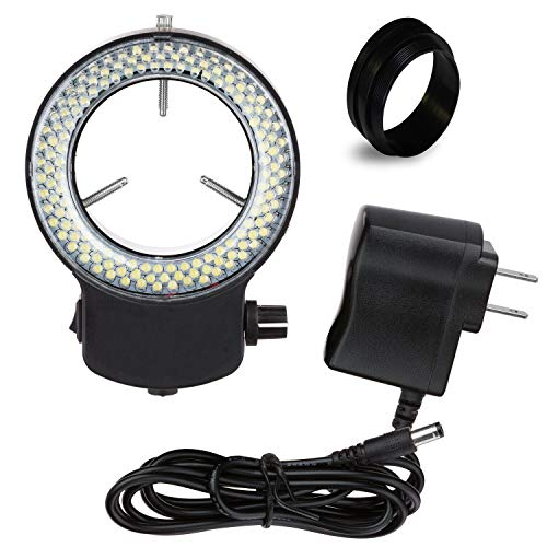 """Vision Scientific VMLIFR-09B Black Adjustable 144 LED Ring Light for Stereo Microscope   2.5"""" (62.5mm) Inside and 3.64"""" (92.5mm) Outside Diameters   1-7/8"""" (48 mm in Diameter) Ring Adapter Included"""