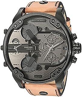 Diesel Men's Grey Dial Leather Band Watch - DZ7406 - 2724631963821