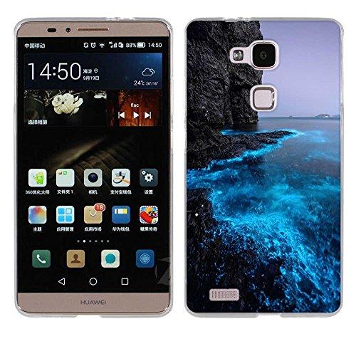 FUBAODA für Huawei Ascend Mate 7 Hülle Case, [Fluoreszierende Küste] Ultra Dünn Handyhülle Cover Soft Premium-TPU Durchsichtige Schutzhülle Backcover Slimcase für Huawei Ascend Mate 7