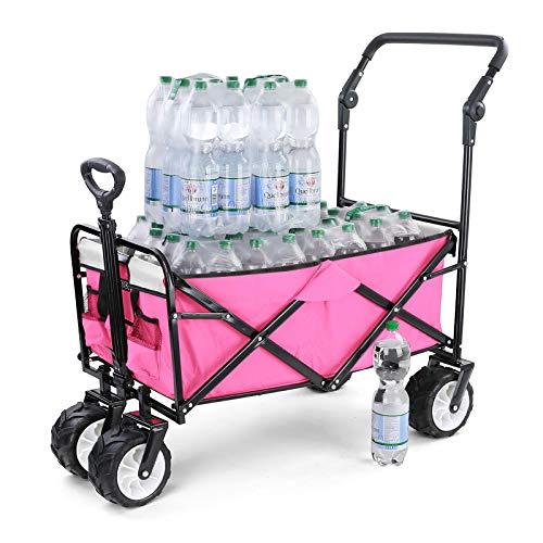 Ramroxx 37968 Strandwagen Bollerwagen klappbar Handwagen faltbar Transportwagen Weiß Pink