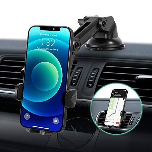 Modohe Soporte Movil Coche, Sujeta Movil Coche Universal con Brazo Ajustable y Ventosa Fuerte para Moviles Diferentes como iPhone 12/11 Pro/X,Samsung S10/S9/S8, Huawei P40/Mate20 etc