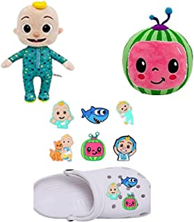 Cocomelon Plushies Pack of 8 includes JJ Plush Doll, Stuffed Melon and 6 Pcs Shoe Charms – Best Gift for Toddler boys girl...