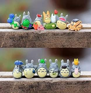 Chris.W 12pcs My Neighbor Totoro Dollhouse Miniature Totoro Figurines Figure Fairy Garden Terrarium Supplies Ornaments
