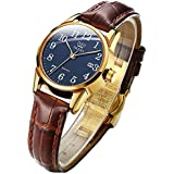 OLEVS Brown Leather Quartz Analog Women Watch Business Ladies Luxury Dress Classic Fashion Simple Blue Small Dial Waterproof Luminous Date Female Wrist Watch
