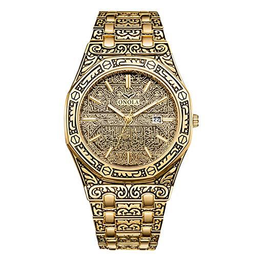 RORIOS Retro Herren Uhren Mode Analog Quarz Armbanduhren mit Kalender Edelstahlband Graviert Männer Armbanduhr