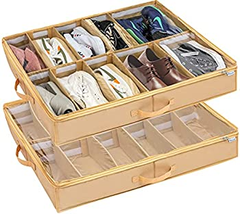 Under Bed Shoe Storage Organizer Adjustable Dividers  2 Pack Fits 24 Pairs  Shoe Organizer Underbed Containers Solution with Sturdy and Breathable Materials for Sneakers Boots Great Space Saver for Your Closet  Beige