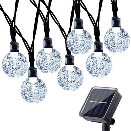 Qedertek Guirnaldas Luces Exterior Solar, Cadena de Bola Cristal Luz para Exterior, 9M 50 LED, Guirnalda Luminosa Impermeable, Luces Decoración para Jardín, Casa, Bodas, Jardine (Blanco)