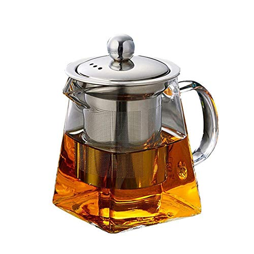 Glass Teapot with Infuser Lid, 500ml/17oz Clear Tea Kettle with Removable Stainless Steel Strainers for Blooming Loose Leaf Tea, Safe on Stovetop