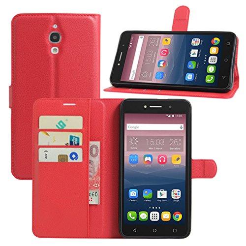 HualuBro Alcatel Pixi 4 (6 Zoll) 3G Hülle, Leder Brieftasche Etui Tasche Schutzhülle HandyHülle [Standfunktion] Lederhülle Flip Hülle Cover für Alcatel OneTouch Pixi4 6.0 Zoll 3G 8050D (Rot)