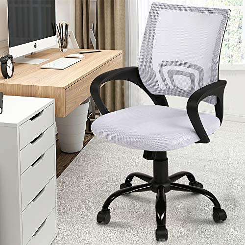 Mesh Home Office Chair with Lumbar Support Ergonomic Executive Desk Chair Adjustable Stool Rolling Swivel Rocking Mid Back Computer Task Chair for Women Adult ,White