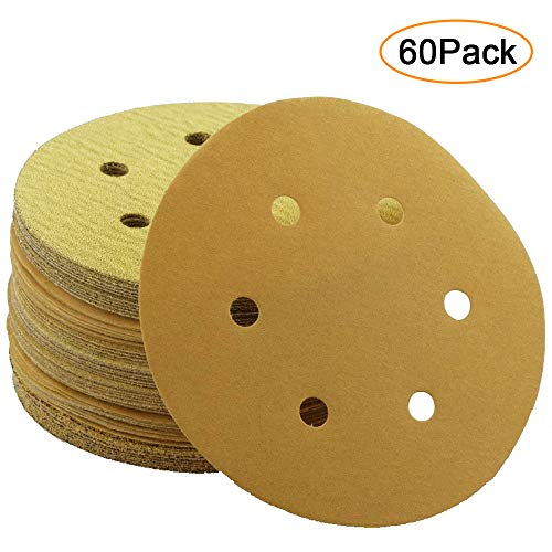 Anesty 60PCS 6 Inch Sanding Discs Round Dustless Hook and Loop Assorted 60 80 120 150 220 320 Grits for 6 Inch Sander Polisher