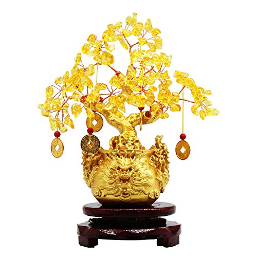 8.6 Inches Yellow Crystal Money-Making Lucky Tree Wine...