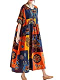 Romacci Women Vintage Loose Dress Contrast Color Print Half Sleeves Robes Oversized Cotton Linen Casual Dress Orange