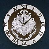 YJSMXYD Wanduhren Moderne Silent Clocks Harry Potter Wanduhr Modernes Design Hogwarts Holz Schallplattenuhren Quarz 3D Dekorative Klassische Wanduhr Wohnkultur