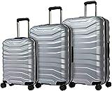 Maleta de viaje ligera de superficie dura con 4 silenciosas ruedas dobles,Silver-Set of 3