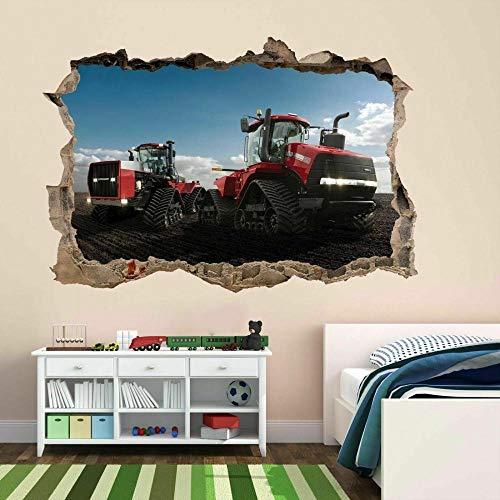 Pegatinas de pared Pegatina de pared de Tractor de cuatro pistas, calcomanía mural, maquinaria de planta, papel tapiz para habitación de niños y niños- 70×100cm