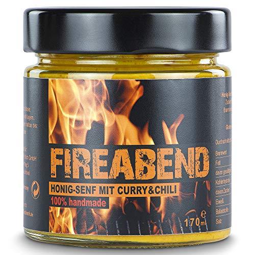 FIREABEND - Honig Senf mit Curry & Chili 100% handmade (170 ml) - ideal zum Grillen oder für den Hot Dog