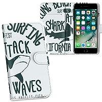 igcase iPhone 8 plus/iPhone 7 plus/iPhone 6 plus/iPhone 6s plus 専用ケース 手帳型 スマホカバー 両面プリント ケース カバー レザー ケース 手帳タイプ フリップ ダイアリー 二つ折り 革 フルデザイン 012452 サメ 英語 ビーチ