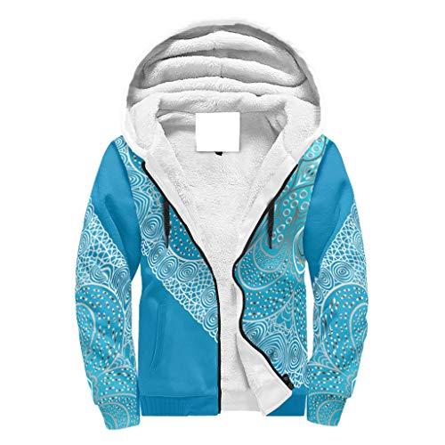 Lind88 Heren Voorkant Rits Dikke Fleeced Sweatshirt Gevoerde Tiener Student Blauw-groen verloop Mandela Grafische Vrije tijd - Mandela Art Katoen Hooded Comfortabele Sport Blouse voor Coworker Gift