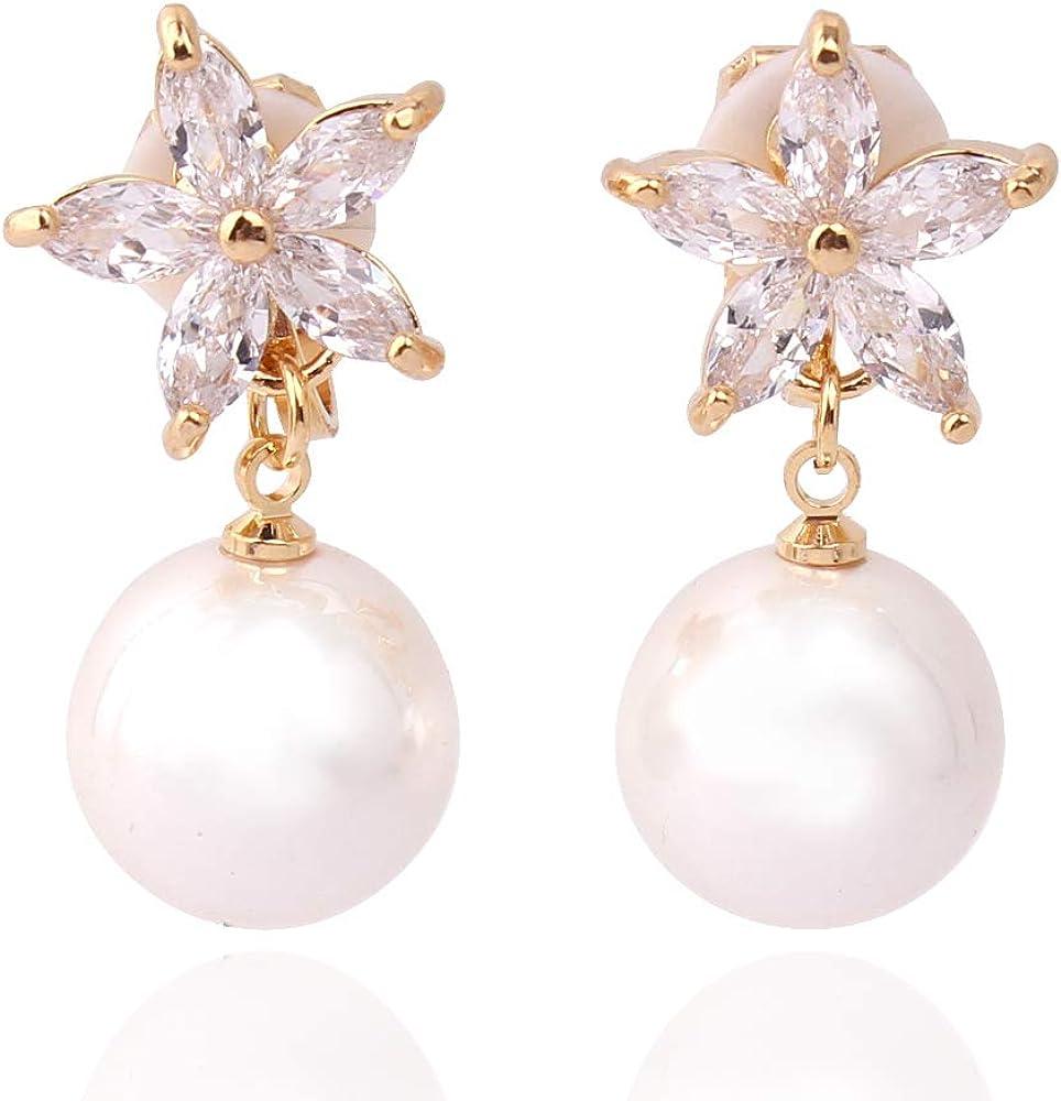 HAPPYAN High-grade Copper AAA Cubic Zircon Pearl Flower Shape Clip on Earrings No Pierced for Women Charm Bridal Jewelry Lightweight No Ear Hole Earrings