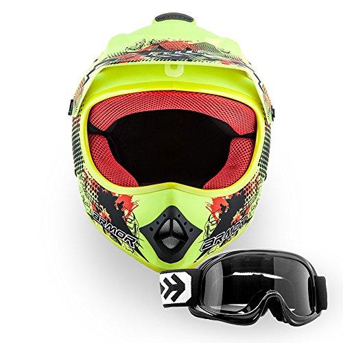 """ARMOR Helmets® AKC-49 Set """"Limited Yellow"""" · Kinder Cross-Helm · Motorrad-Helm MX Cross-Helm MTB BMX Cross-Bike Downhill Off-Road Enduro-Helm Sport · DOT Schnellverschluss Tasche L (57-58cm)"""