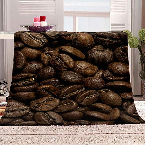 tjxu 3D Flannel Blanket Coffee beans Warm Adult Super Soft Blanket With Soft Anti-pilling Flannel For Adults & Kids 180 X 200 CM