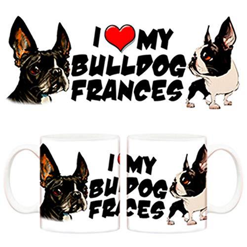 Diver Tazas Taza I Love my Bulldog Francés 2 Perro - Cerámica