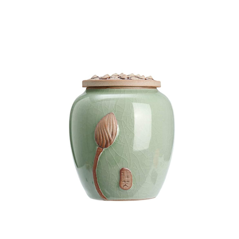 かける悔い改め潤滑するSHENGSHIHUIZHONG グリーンセラミック骨壷、丸型磁器、収納瓶、ペット骨壷、棺 骨壷 (Color : ピンク)