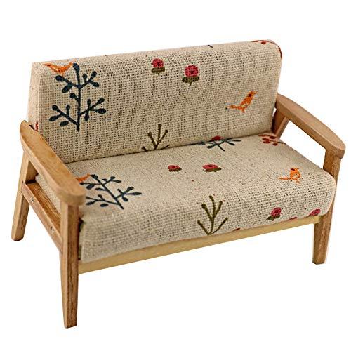 GRASARY 1/12 Mini Puppenhaus Sofa Doppel Sessel Home Wohnzimmer Möbel Modell Spielzeug, Perfekte DIY Puppenhaus Spielzeug Geschenkset C.